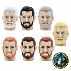 Bearded Male Heads for Type S Retro 8 inch male bodies (2020 FTC Versions)