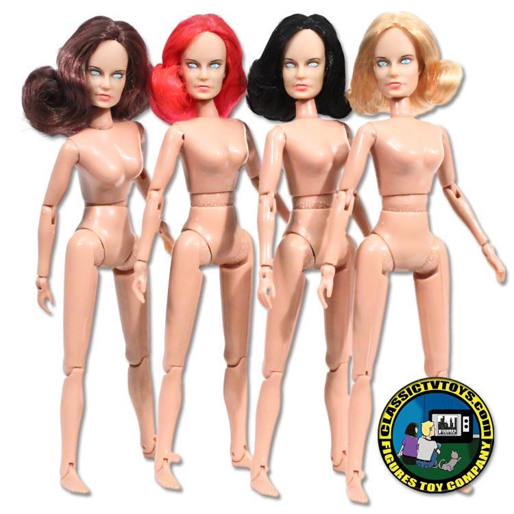 Set 5 Female Rooted Hair Roto Molded Heads with bodies for 8 inch Retro figures