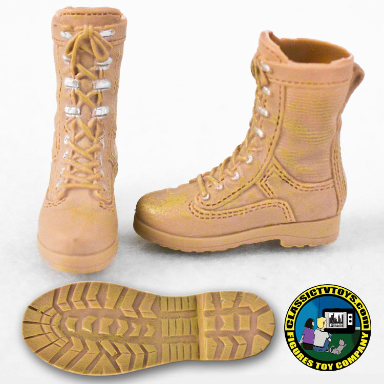 military boots pair of tan military boots